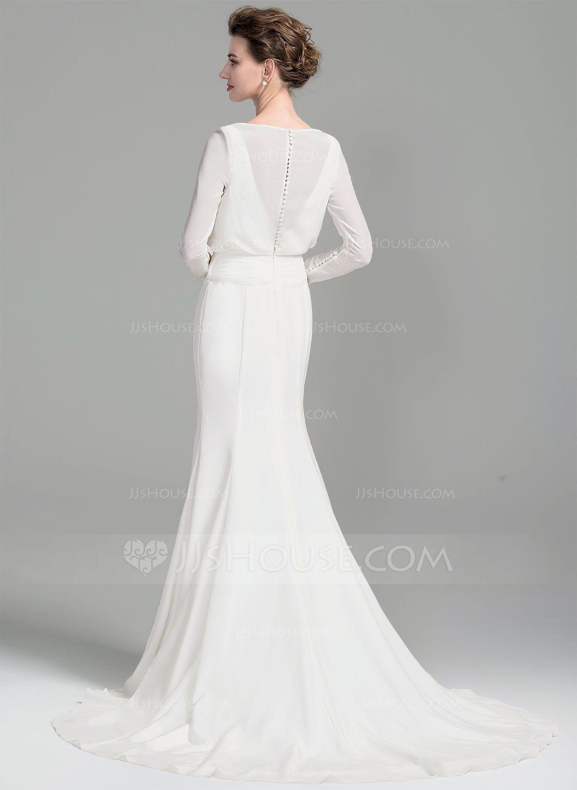 Sheathcolumn scoop neck court train chiffon wedding dress with