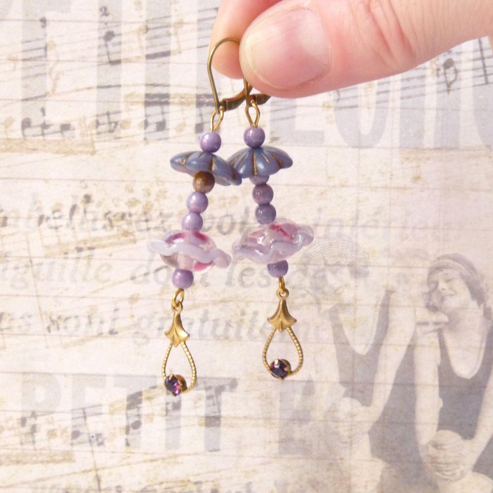 Boucles d'Oreilles Perles, Romantique Retro Vintage Féminin Mauve, Dormeuse : Boucles d'oreille par bleulucioleshop