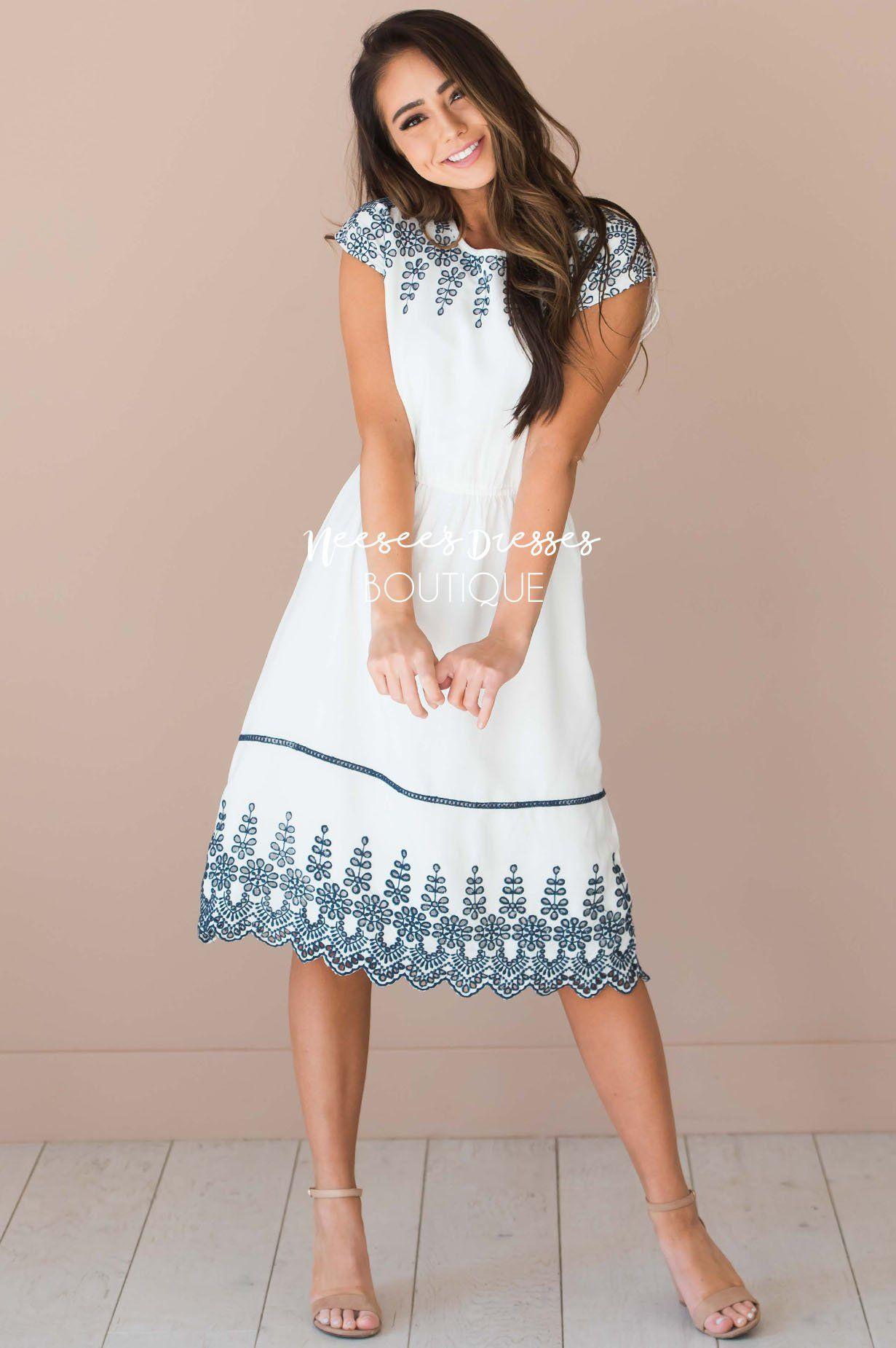 White Navy Eyelet Modest Dress Best Place To Buy Modest Dress Online Modest Dresses And Skirts For Chu Modest Summer Dresses Neesees Dresses Modest Dresses [ 1850 x 1231 Pixel ]
