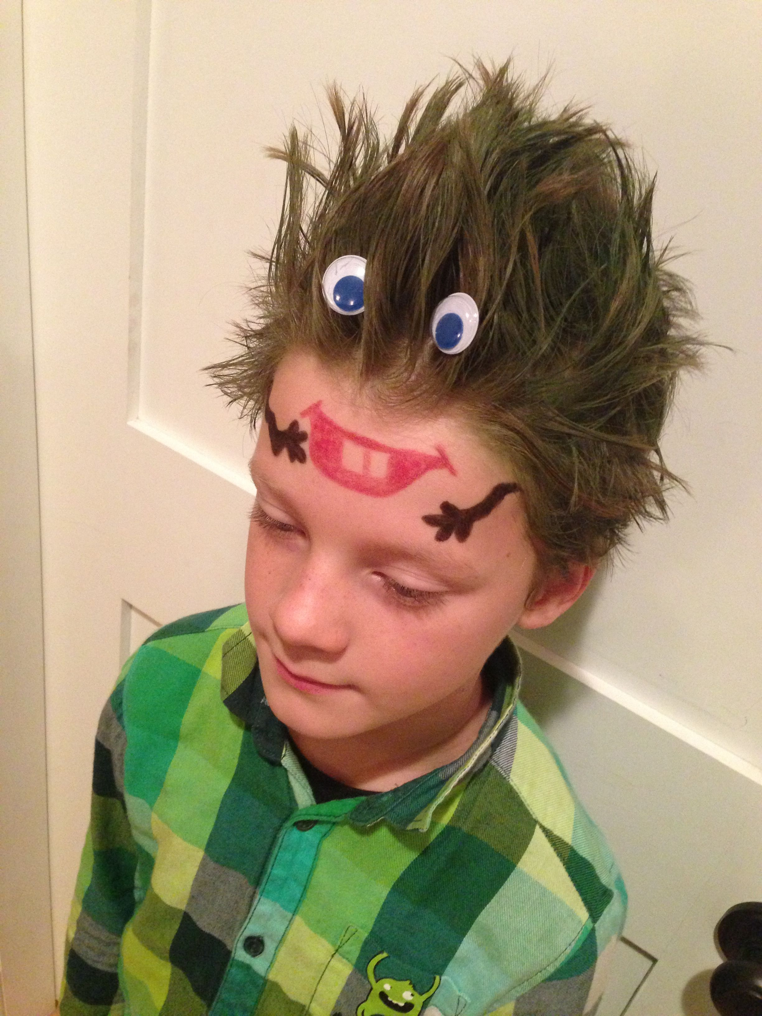 monster head . crazy hair day at school !!! | school