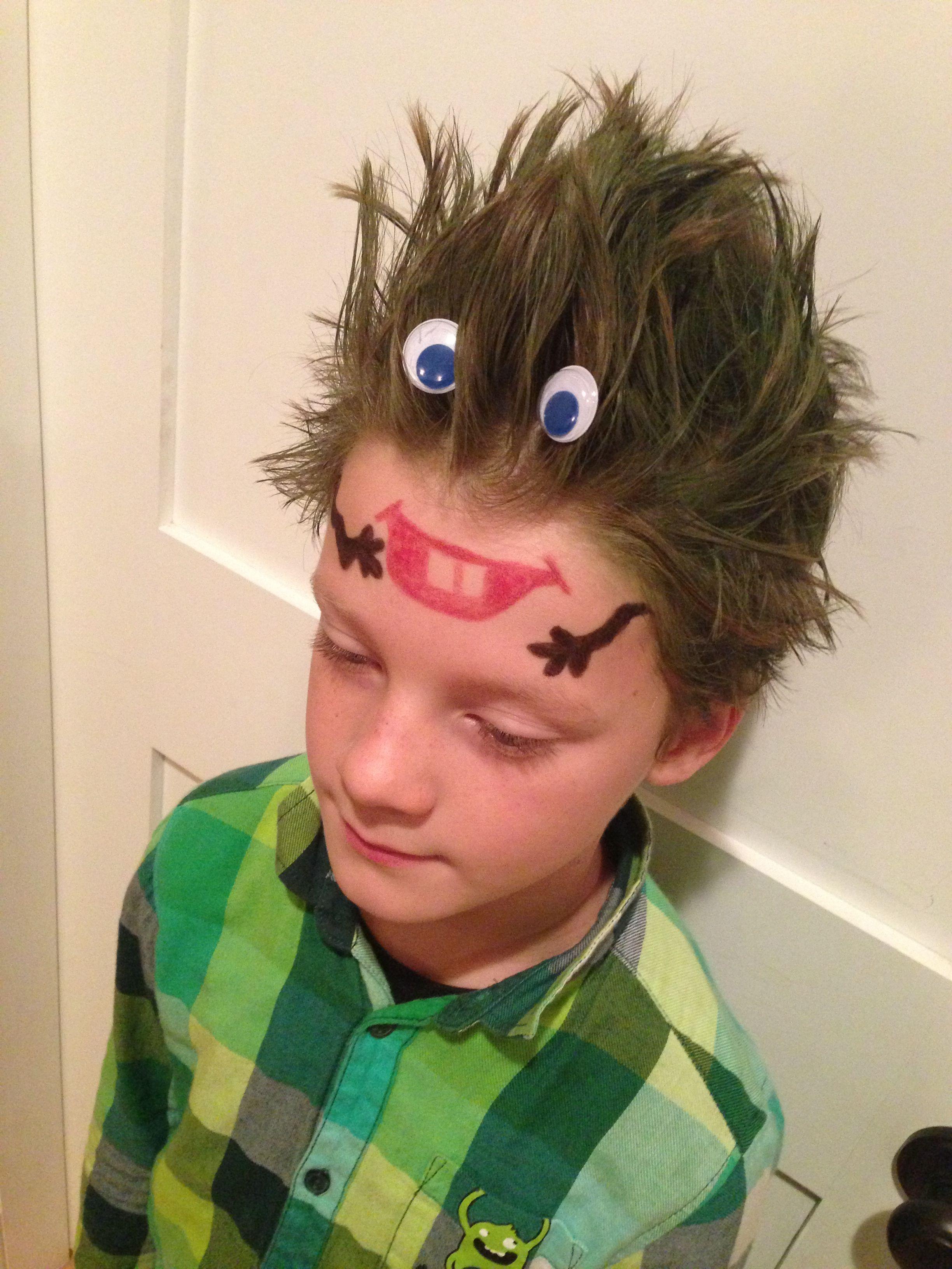 monster head . crazy hair day at school !!! | school