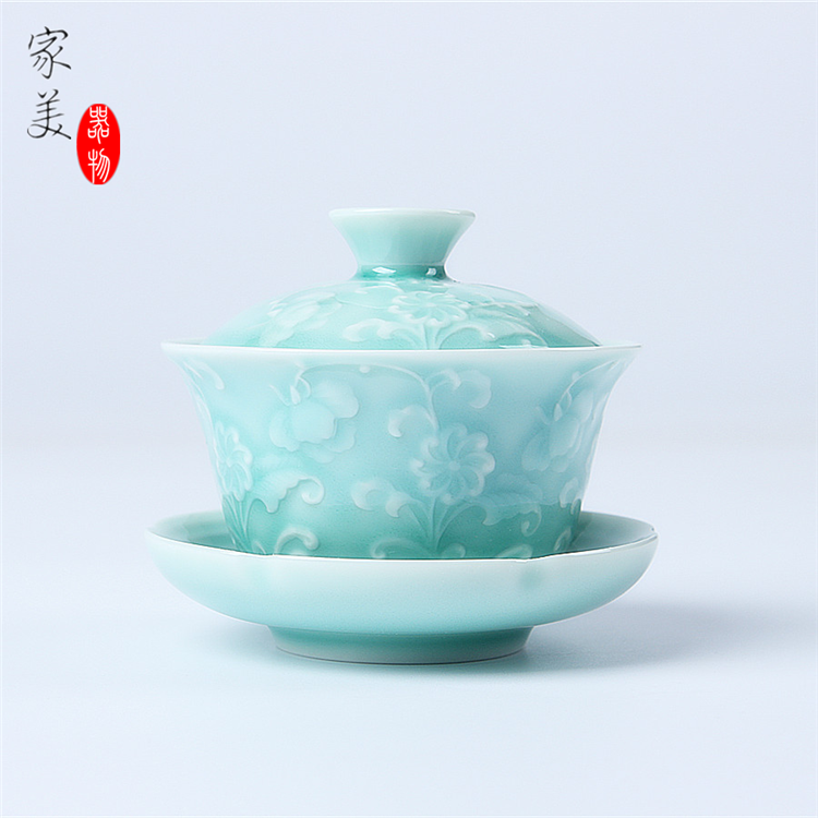 on sales Chinese tureen porcelain tea cup bowl lid cup saucer green celadon cups