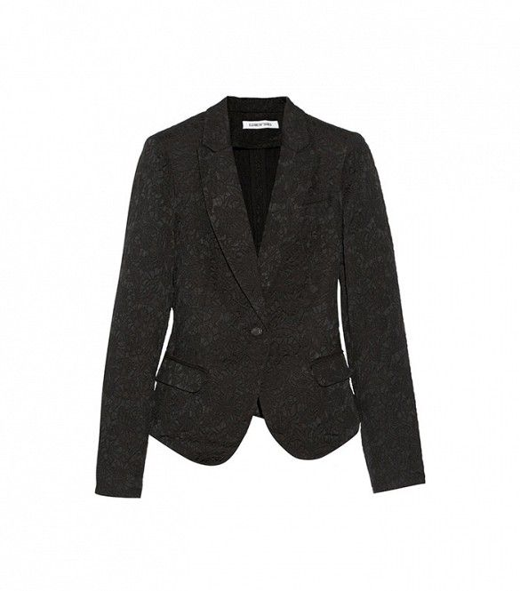 Elizabeth and James Abigail Floral-Jacquard Blazer in Black