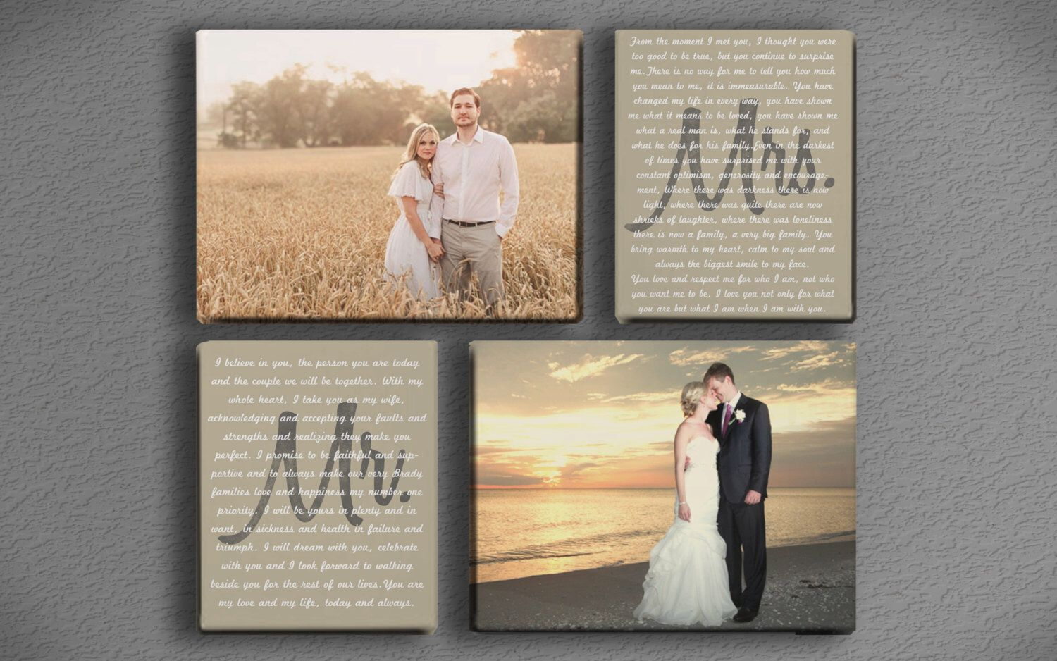 Wedding Vow Art Mr And Mrs With Two Photos Printed Canvas