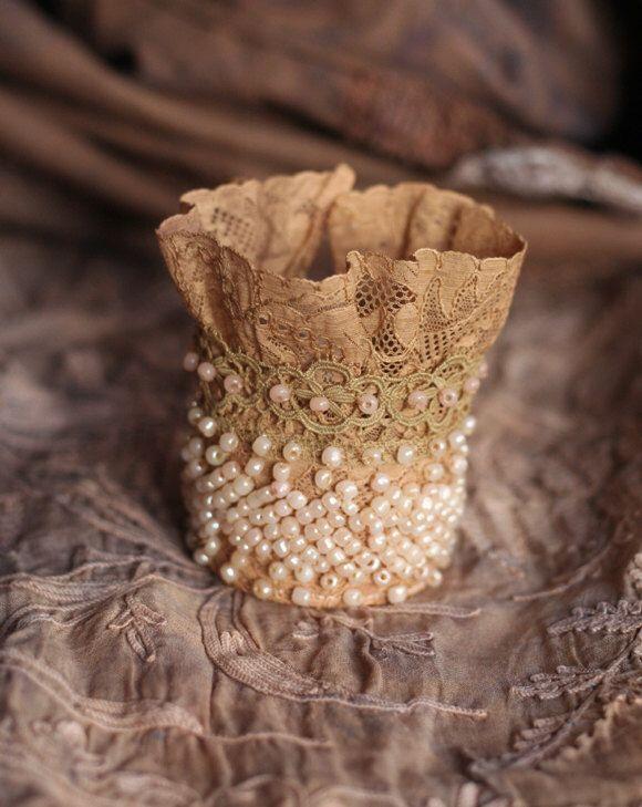 romantic antique lace wrist wrap  with beading by FleursBoheme on Etsy https://www.etsy.com/listing/205539123/romantic-antique-lace-wrist-wrap-with