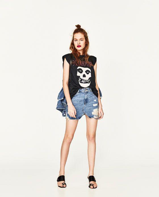 593964ae1a ZARA - WOMAN - DENIM MINI SKIRT Ripped Denim Skirts, Denim Mini Skirt, Mini