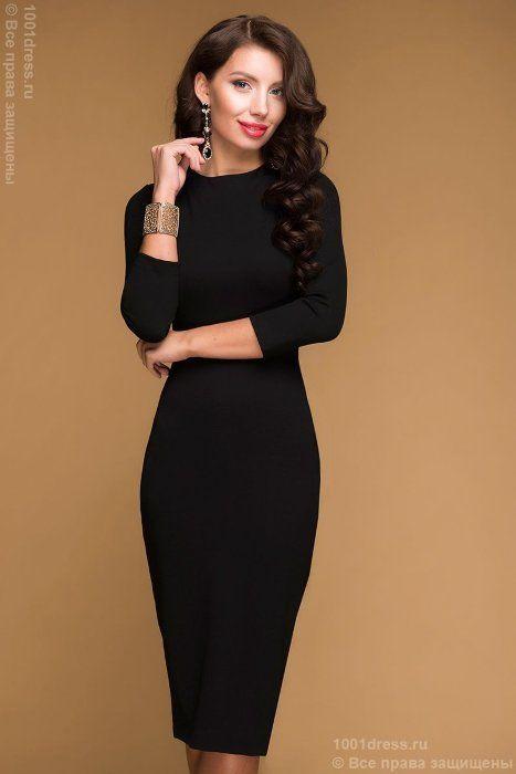 1b02588f930b563 Черное коктейльное платье ниже колена с рукавом 3/4 и вырезом на спинке 1