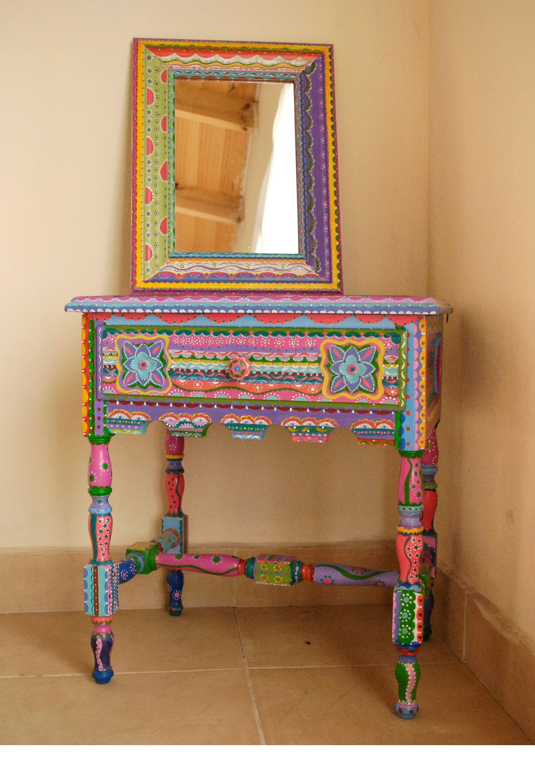Antique table intervened by artist mesa mexican style for Mexican furniture