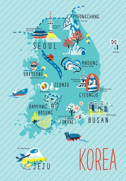 Korea illustrated maps more illustrated maps pinterest korea illustrated maps more gumiabroncs Image collections