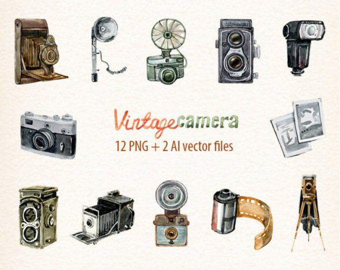 Camera Vintage Vector Png : Vintage camera clipart retro watercolor cameras photo film etsy