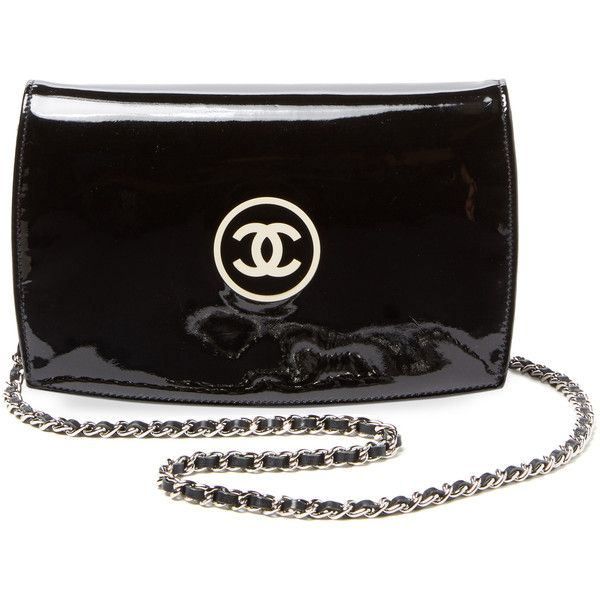 Chanel Vintage Limited Edition Black Patent CC Compact Wallet on Chain ($2,195) ❤ liked on Polyvore featuring bags, wallets, black, hardware bag, chain bag, chanel, patent leather wallet and chanel bags