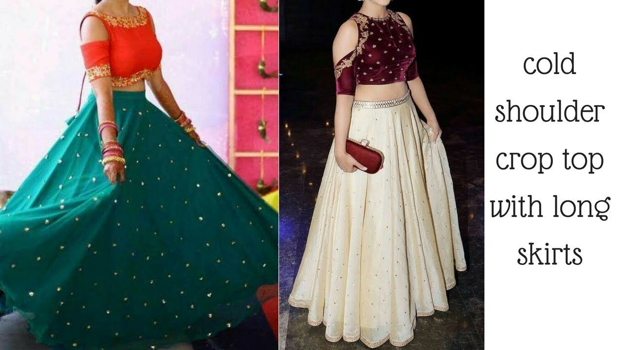 3e7111947c1c02 New cold shoulder crop top with long skirt designs for wedding functions