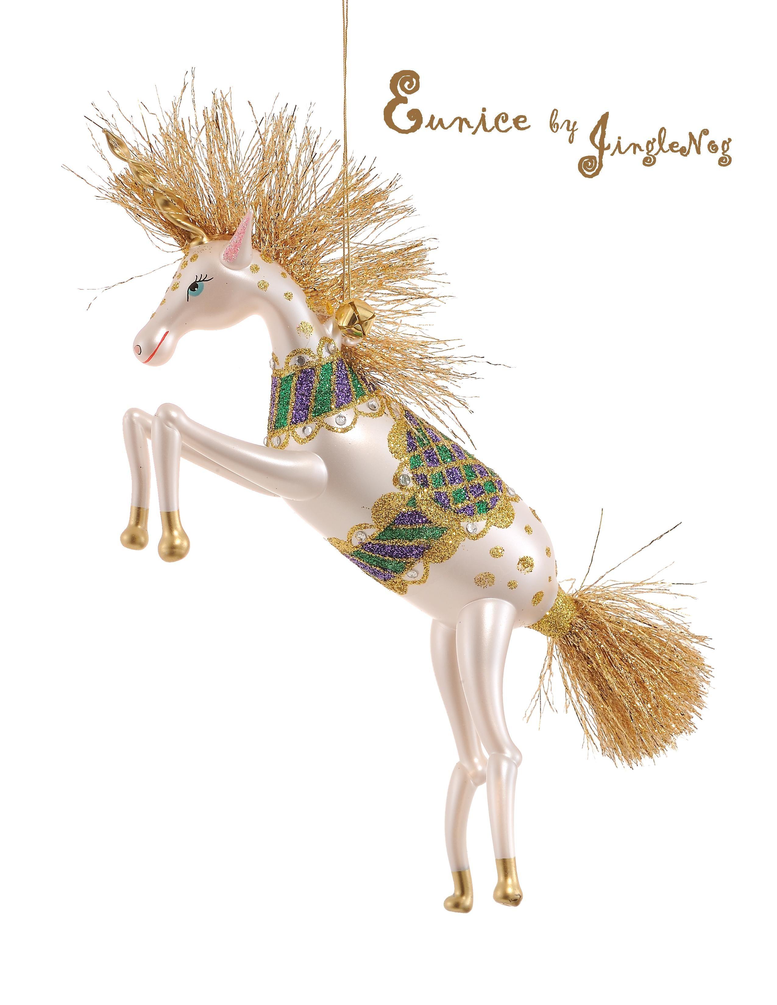 Italian ornaments - Eunice Italian Glass Unicorn Ornament By Jinglenog