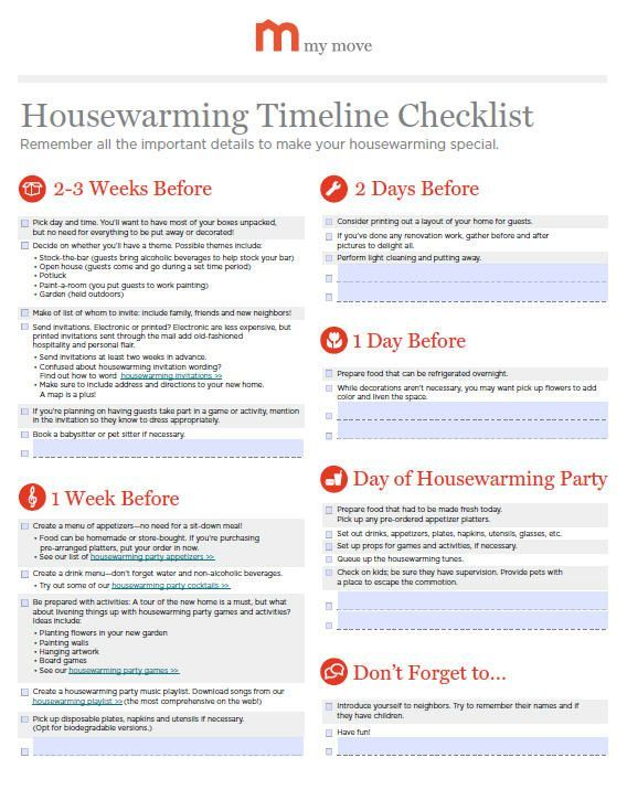 Housewarming Party Timeline Checklist My Move Housewarming Party House Warming Party Timeline