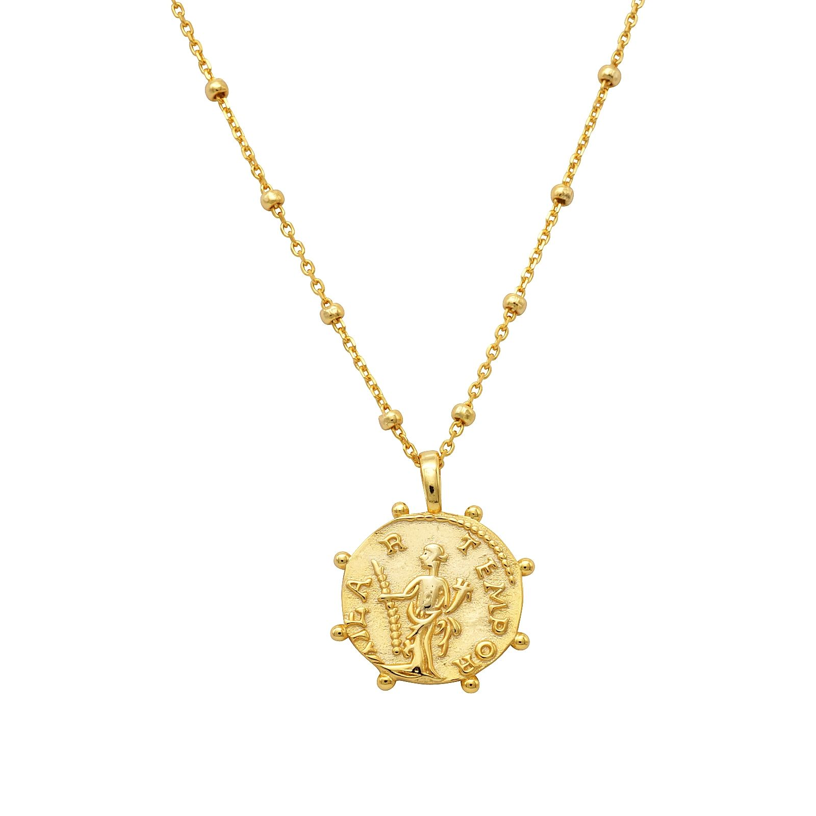 Roman Pendant Necklace Inspired By An Ancient Roman Coin This Amulet Design Necklace With The Beaded Chain And Wheel Necklace Coin Jewelry Delicate Necklace