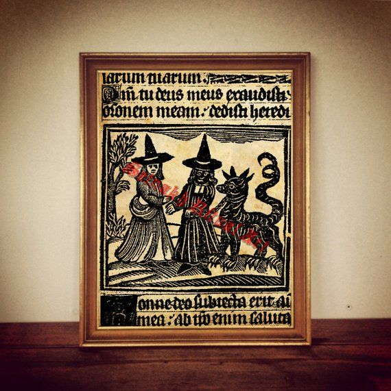 Two Witches Representing Black And White Magick Print On Antiqued Paper Amazing Occult Home Decor