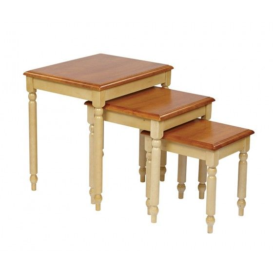 Fantastic Osp Designs Antique White And Cherry 3Pc Nesting Tables By Home Interior And Landscaping Oversignezvosmurscom