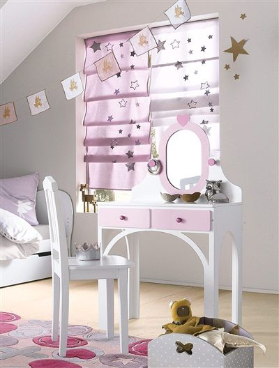 Kinder Raffrollo mit Sternen ROSA+WEIß | Kinderzimmer Schulkind ...