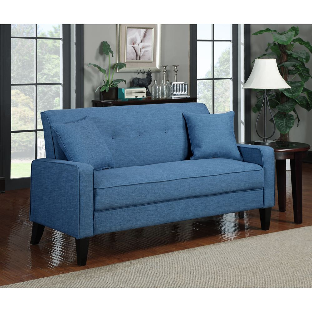 Merveilleux Over $500 Portfolio Ellie Caribbean Blue Linen Sofa   Overstock™ Shopping    Great Deals On