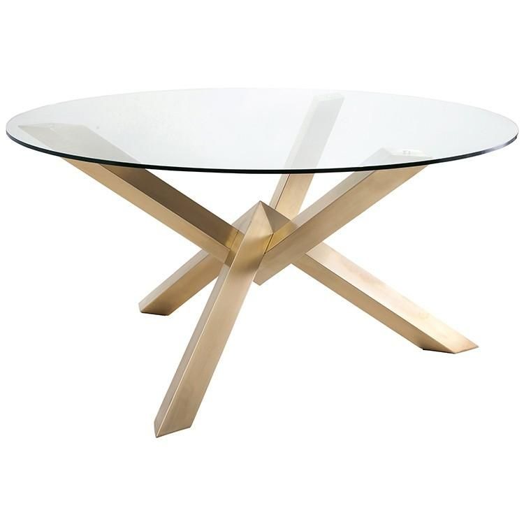 Chic Glass Gold Brushed Steel 72 Round Meeting Table Dining