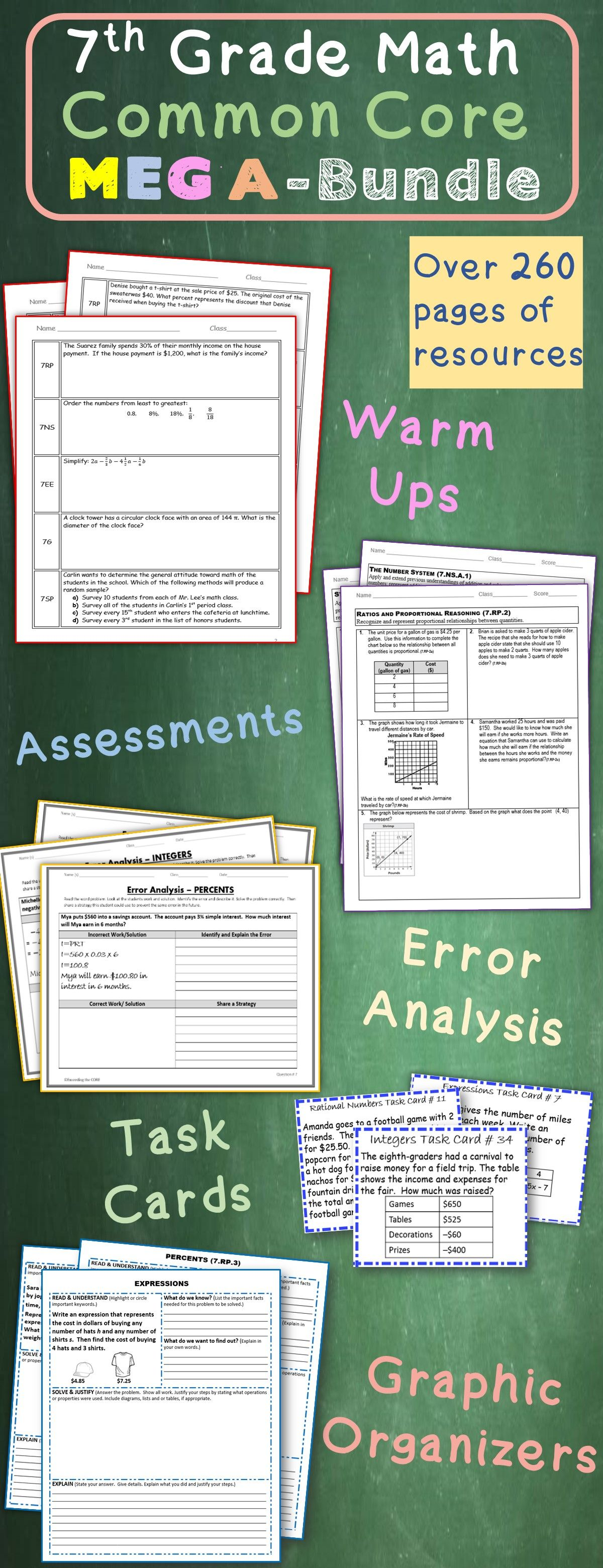 7th Grade Math Common Core Assessments Warm Ups Task Cards Worksheets