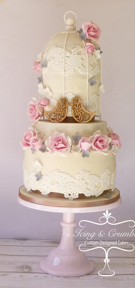 Birdcage Wedding Cake In Cream Colour With Fondant Roses Edible Lace And Wooden Love Bird Topper By Icing Crumbs
