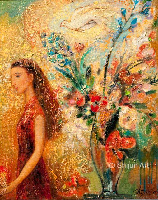 """""""Garden III"""" 16 x 20 2009 © Shijun Munns 黄诗筠 shijunart.com www.facebook.com/shijunart #Spring #painting #Art #OilPaintings #artist #shijunart #shijunmunns #artlanta #atlantaartist #oilpainter #Garden"""