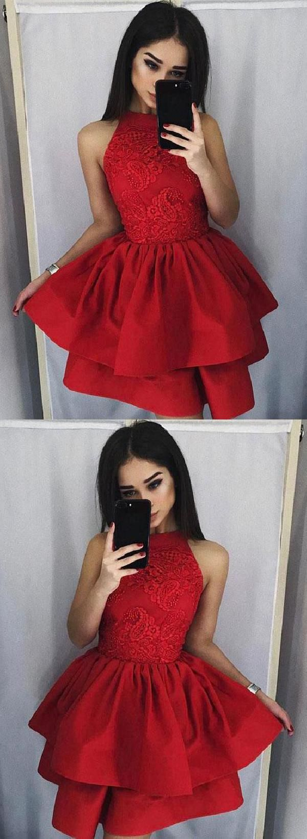 Discount fetching prom dress short lace red prom dress prom dress