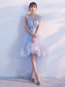 61192bbaeef9 High Low Homecoming Dress Lace Prom Dress 2019 Off The Shoulder Light Grey Applique  Short Sleeve A Line Asymmetrical Graduation Dress - Milanoo.com