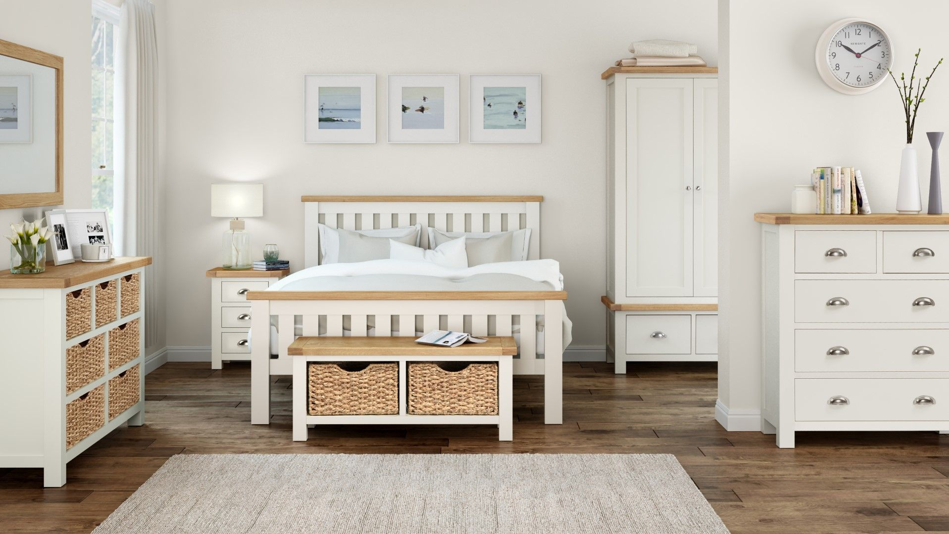 The Windsor Bedroom Range Of Furniture Is Painted In An Ivory Colour And Has Oiled Rustic Oak Tops The Acc At Home Furniture Store Furniture Painted Furniture