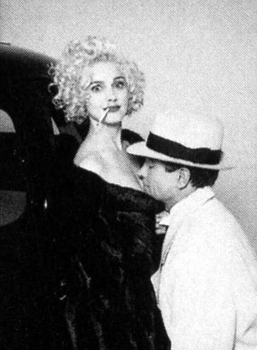 """Madonna and Warren Beatty on the set of """"Dick Tracy"""""""