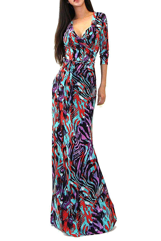 7a77cd0e2e2 VIVICASTLE Women s Printed V-neck 3 4 Sleeve Wrap Waist Tie Long Maxi Dress  (Large