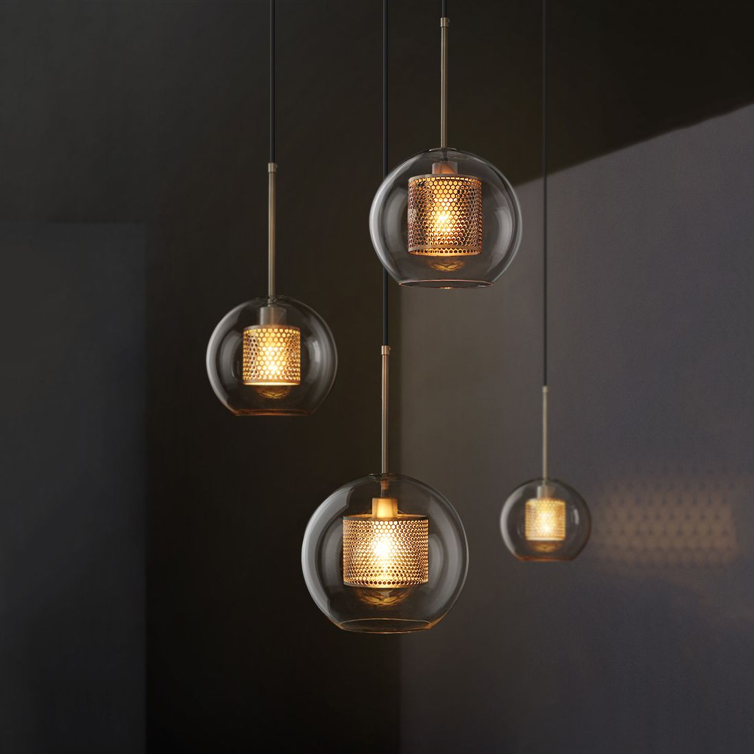 Mesh Glass Shade 10 Light Globe Pendant Lamps in Industrial Style