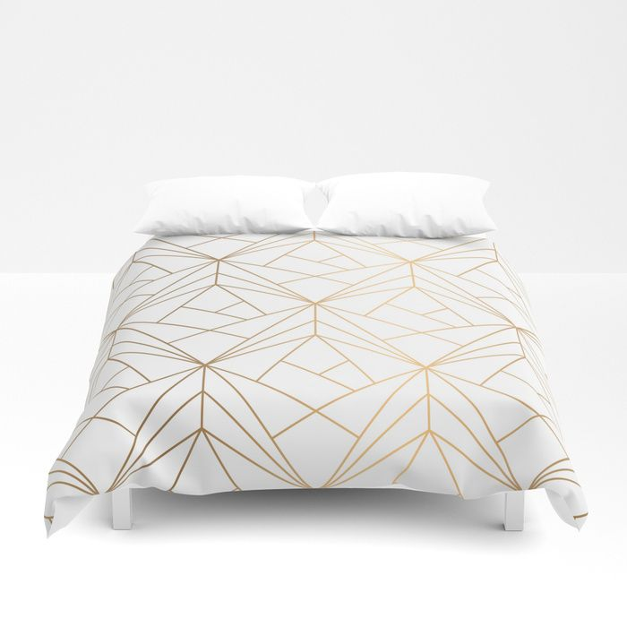 Geometric Gold Pattern With White Shimmer Duvet Cover