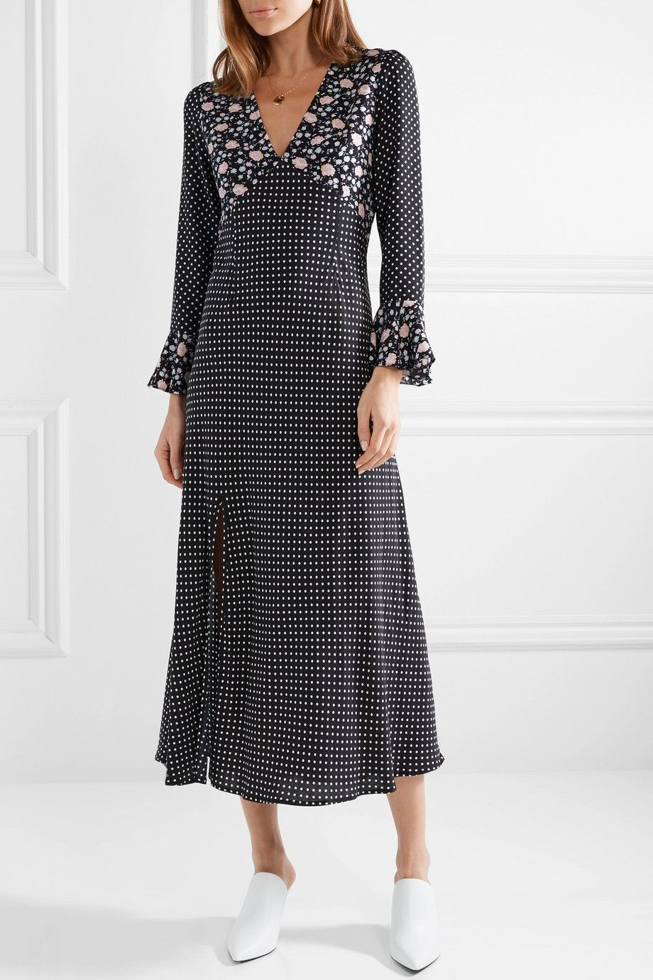 2d71dc9b RIXO - Esther polka-dot crepe midi dress in 2019 | print + pattern ...