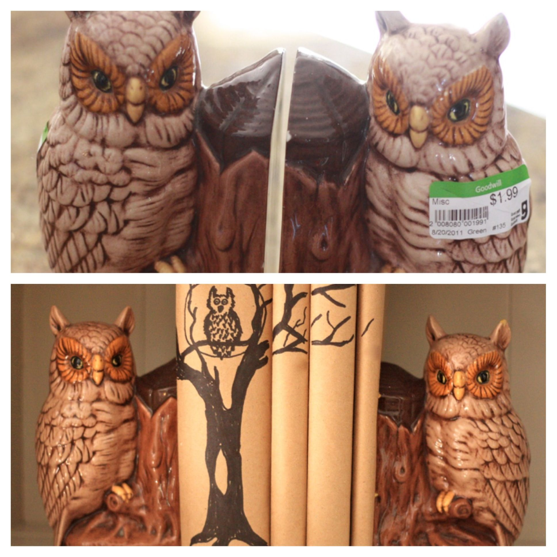 Owl Bookends from #Goodwill holding books wrapped in craft paper ...