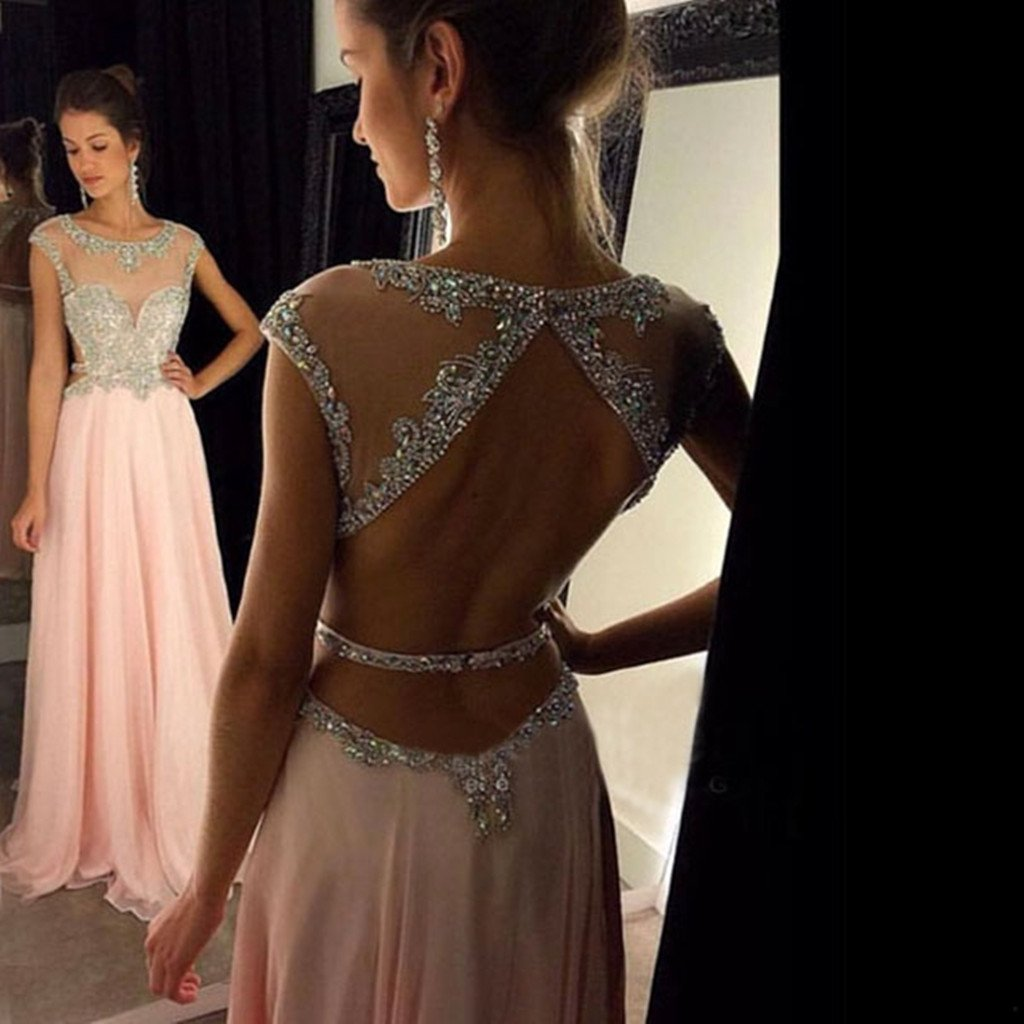 Popular A-line Round Neck Sequin Long Pink Prom Dress