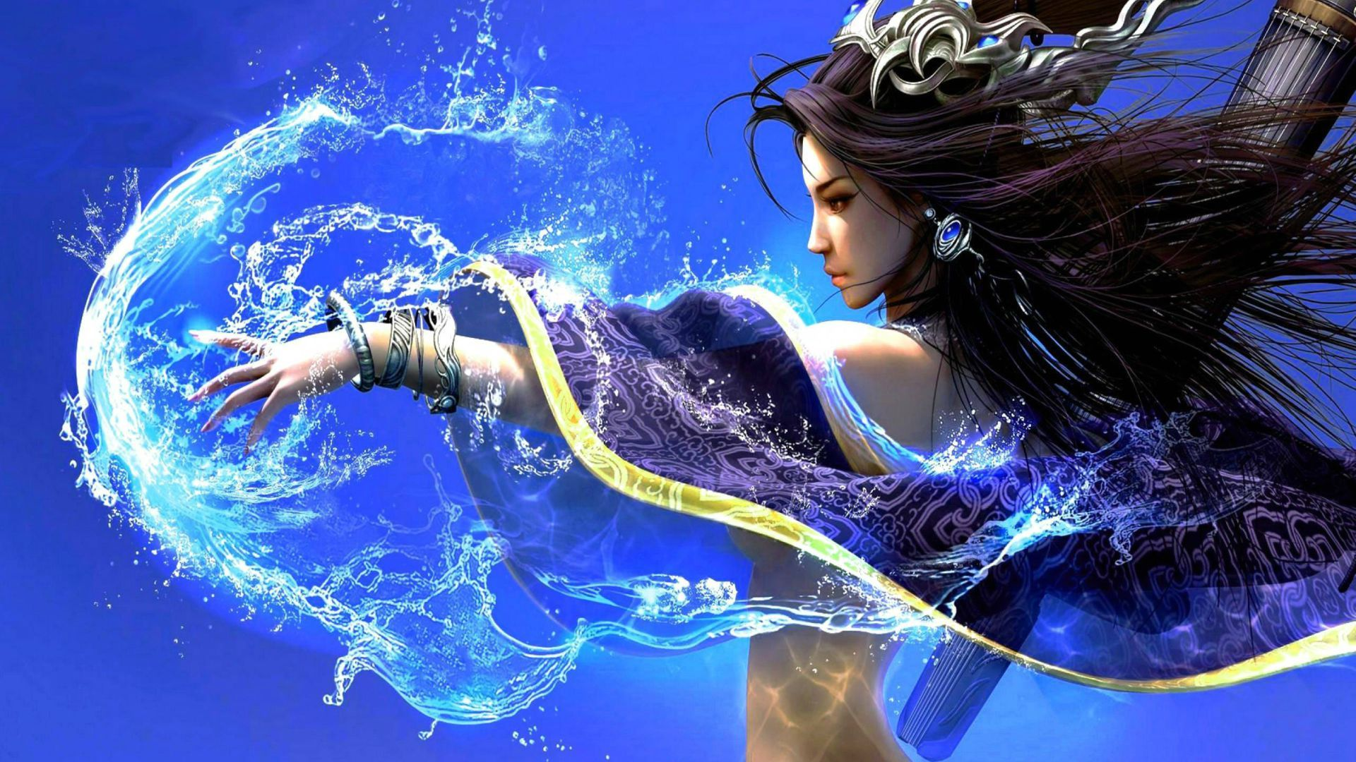 blue fantasy 1080p Wallpapers of Fantasy Beautiful Girl