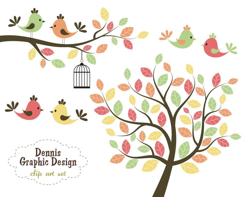 buy 2 get 2 free cute bird clip art trees and branches personal rh pinterest com tree branch clip art images tree leaves branch clip art