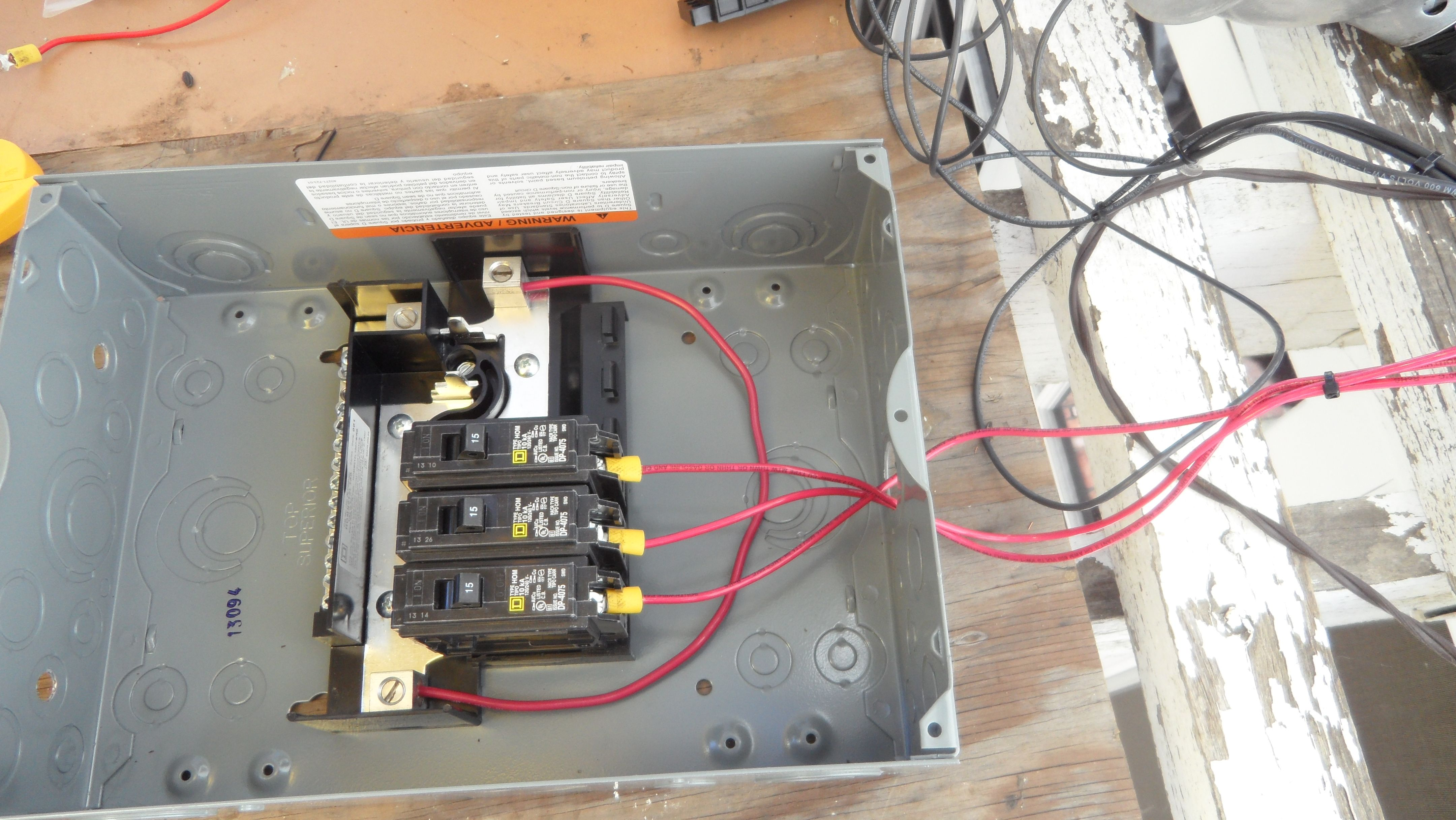 medium resolution of wiring the junction box where we can safely isolate the solar panels