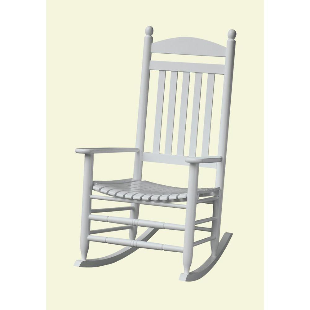 Unbranded Bradley White Slat Patio Rocking Chair 200sw Rta The Home Depot In 2020 Patio Rocking Chairs White Patio Furniture Rocking Chairs For Sale