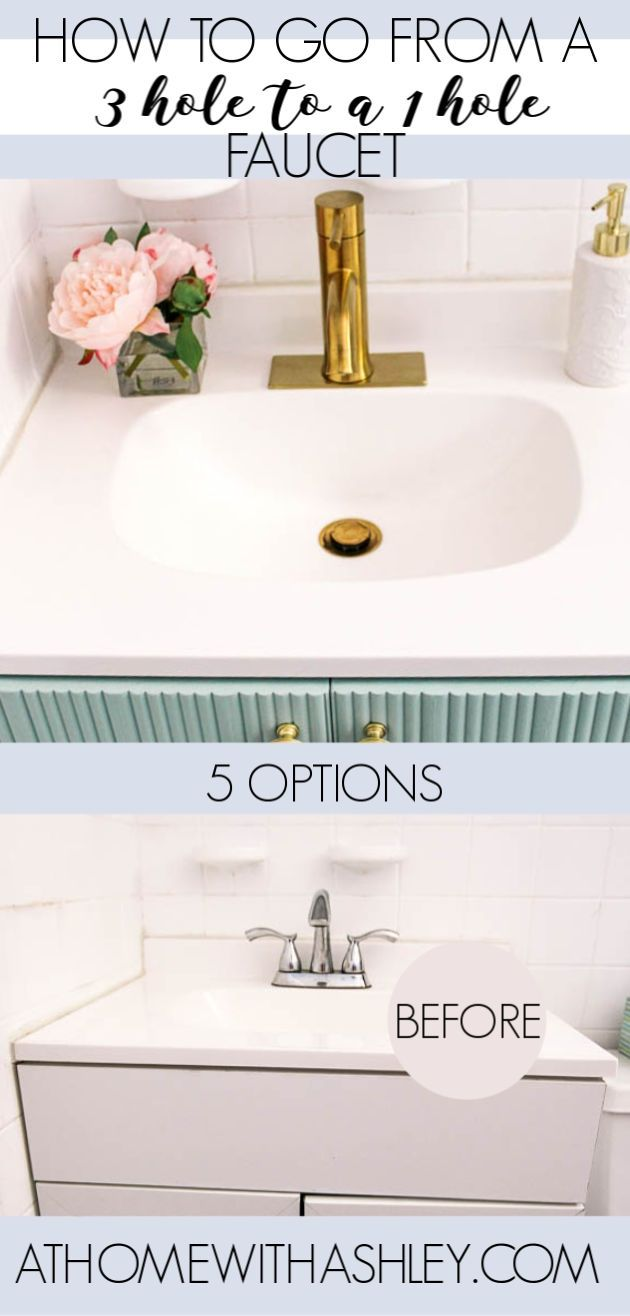 How Do You Change A 3 Hole Faucet To 1 Hole At Home With Ashley In 2020 Budget Home Decorating Diy Home Repair Home Interior Accessories