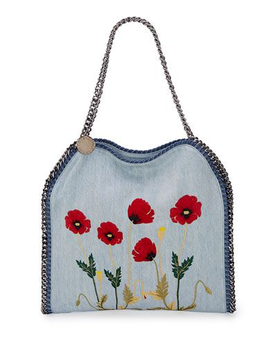 f91be2d78258 L0LL9 Stella McCartney Falabella Baby Bella Flower-Embroidered Tote ...