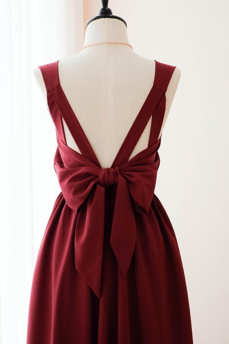 Dunkelrotes Burgund-Kleid Burgund Bridesmaid Kleid Long Wedding