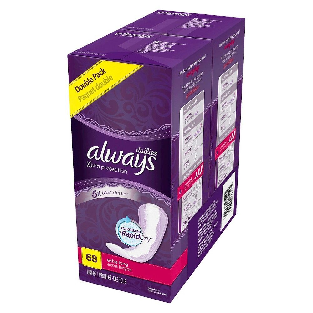 Always Xtra Protection Extra Long Dailies Pantiliners - 68 Count