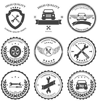 Car service auto parts and tools icons vector logo labels