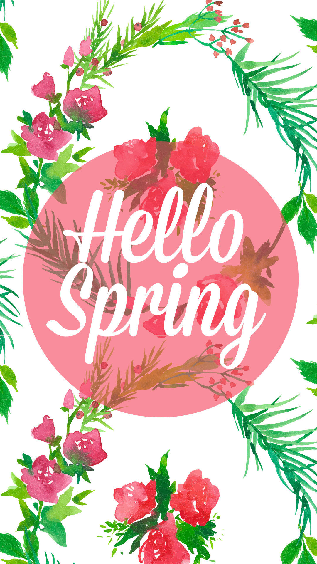 Freebie HELLO SPRING Desktop & iPhone Wallpaper Spring
