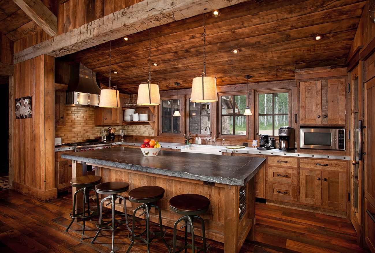 Pin by Matt Greely on Boat House | Log home kitchens, Log ...