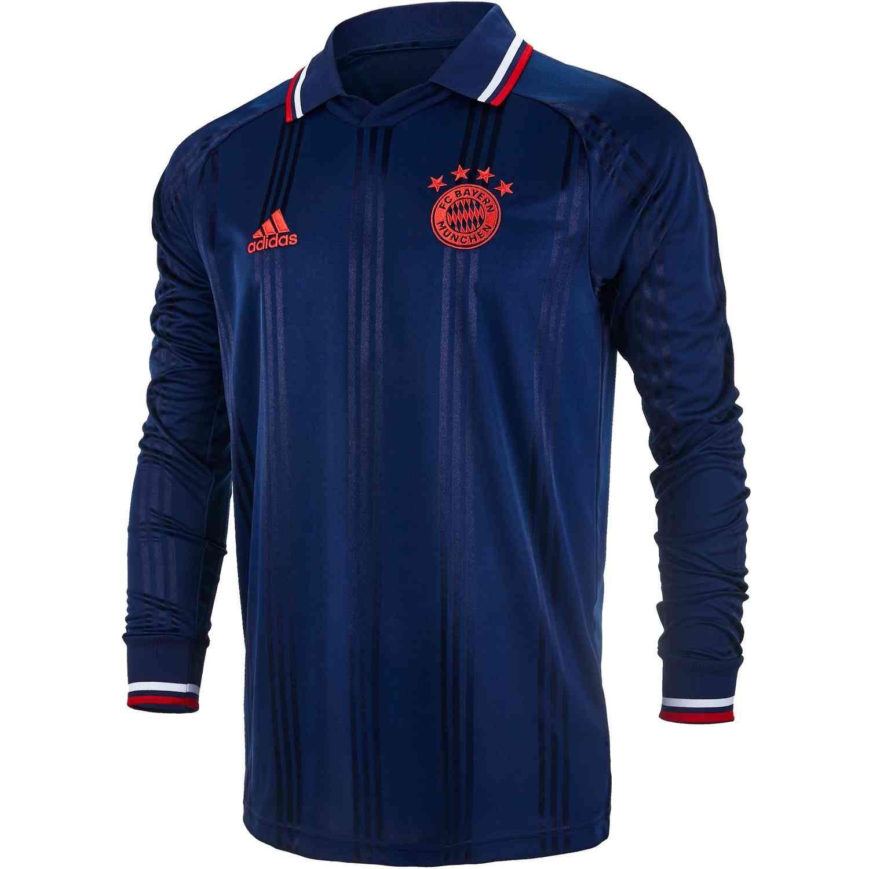 Adidas Bayern Munich L S Retro Jersey Collegiate Navy Fcb True Red Soccerpro Bayern Munich Bayern Long Sleeve Tshirt Men