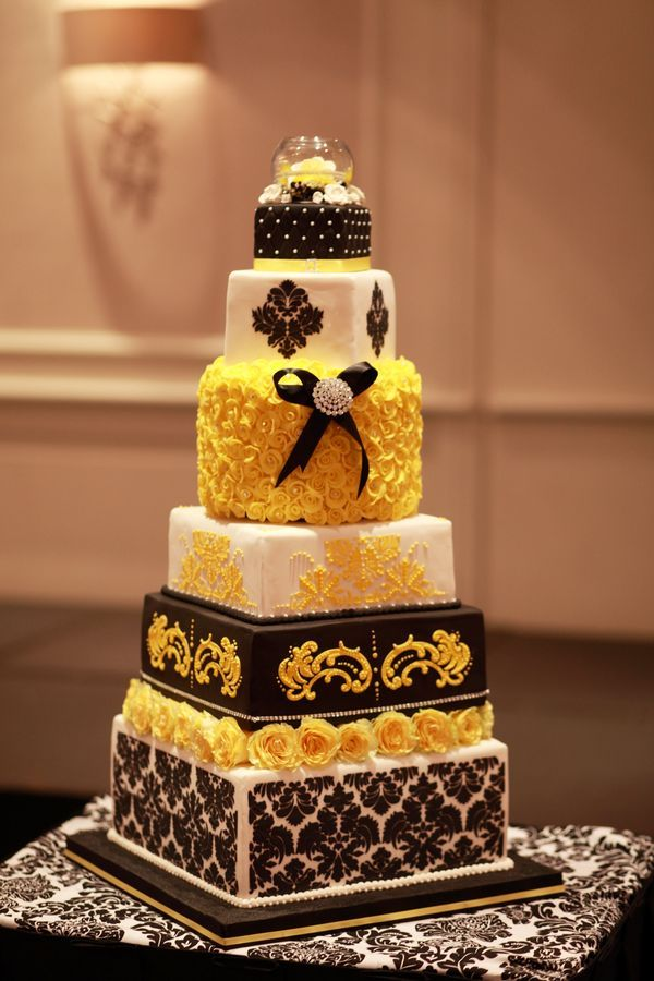 square black and white wedding cakes pictures%0A Gorgeous yellow and black Damask wedding cake